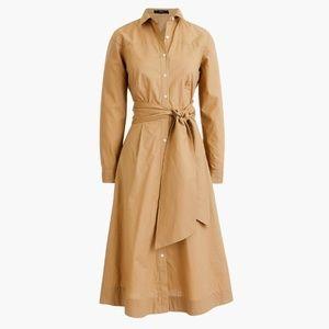 J.CREW Cotton Poplin Waist-Tie Shirt Dress NWT 8